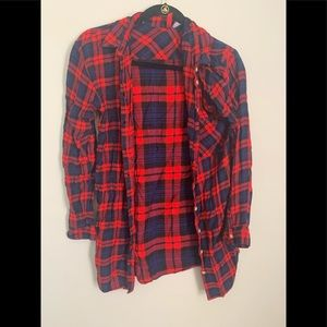 H&M Long Cut Red Navy Flannel